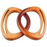 2 piezas Reemplazo de asa de bolsa de madera Asa de repuesto de madera para monedero Asa de bolsa de madera de repuesto para bolsos de playa hechos a mano Bolsos de paja Asas de monedero