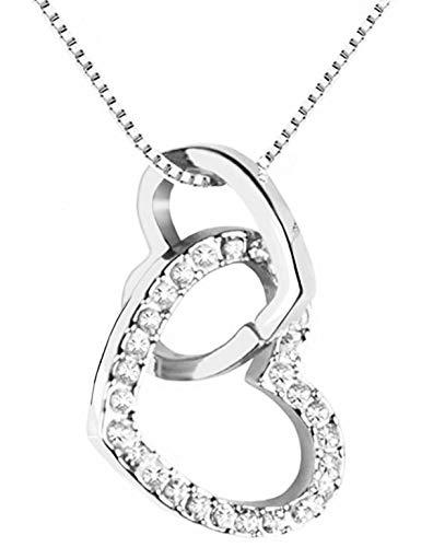 QUADIVA C! Collana da Donna Collana con Ciondolo a Cuore (Colore: Oro Bianco) Abbellito con Scintillanti Cristalli di Swarovski®