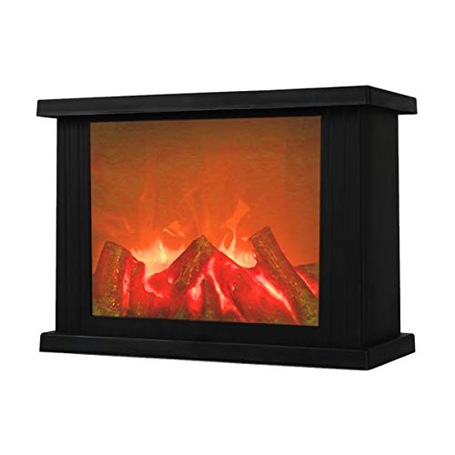 Fireplace Lanterns Decorative Flameless Portable Led Lantern Battery Operated and USB Operated 6 Hours Timer Included Indoor/Outdoor( No Heater Function Black Rectangle Size:11x4.7x8 Inch)