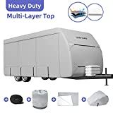 Umbrauto Upgraded Travel Trailer RV Cover Camper Cover Thick Multi-Layers Polypro RV Trailer Cover Anti-UV Top Panel Waterproof Breathable Trailer Covers Ripstop Fits 27' - 30' Travel Trailer