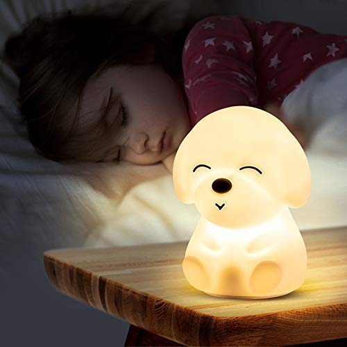 Cute Night Light for Kids,Toddler, Portable Battery Operated Silicone Nursery Baby Nightlight, Color Changing Kawaii Anima Bedroom Decor Decorations,Teen Girls Boys Child Valentine Gifts,Puppy Lamp