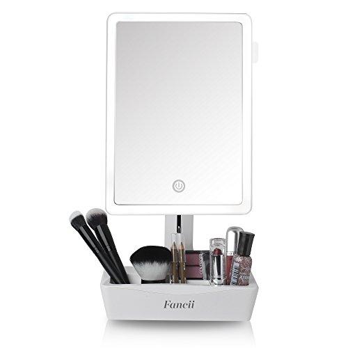Fancii Espejo de Maquillaje con Luz Grande, Aumento de 1x y 10x - Espejo Sobremesa Ajustable con Pantalla Táctil, Luz LED Natural, USB y Pilas con Organizador de Cosméticos