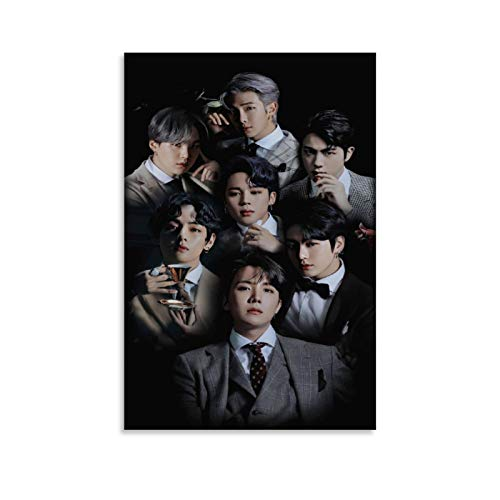 ZHIYONG Popular Group Posters Suit Edition BTS Kim Taehyung Dan Jeon Jungkook Canvas Art Poster and Wall Art Picture Print Modern Family Bedroom Decor Posters 08x12inch(20x30cm)
