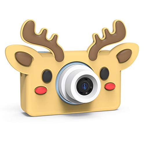 NIKIRUSA Children's Digital Camera Cartoon Animal Outdoor Children's Toys 2 Inch IPS Screen Cute Pet Toys Children Best Gift (Adorkable Deer)