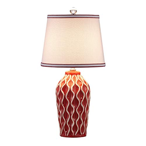 YI0877CHANG Lamparilla de Noche Sala de Estar de época Moderna de Estados Unidos Estilo Salón Dormitorio de Noche lámpara de Mesa de Noche de Bodas Sala de Luz Lámpara Mesilla (Color : Red)