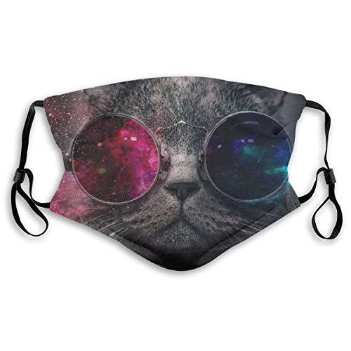 Unisex Cat Universe Ohrhänger, Anti-Staub, Bandanas Stirnband Schal Hals Gamasche Sturmhaube-Schwarz14-Mittel