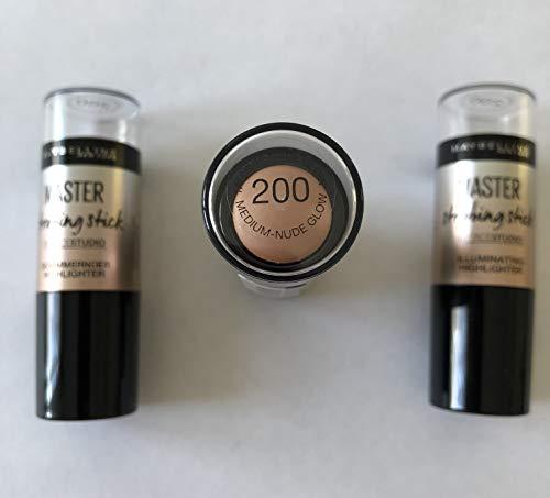 3x Maybelline Master Strobing Stick Schimmernder Highlighter (200 Medium-Nude Glow)