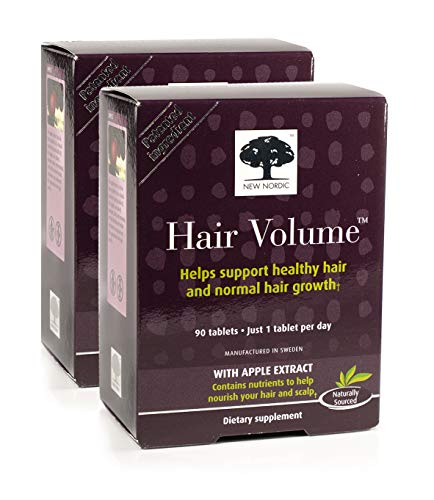 New Nordic Hair Volume w/Apple Extract, 90 Tablets, Pack of 2