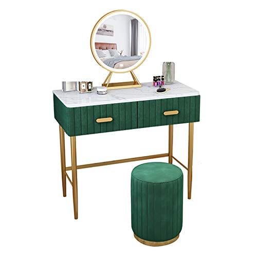 GSH Frisiertisch Samt Kosmetiktisch mit runden gepolsterten Schminktisch Marmorplatte 2 große Schubladen für Schlafzimmer Wohnzimmer, Optionale Farbe