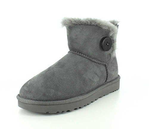 UGG Damen Mini Bailey Button Kurzschaft Stiefel, Grau (Grigio), 41 EU