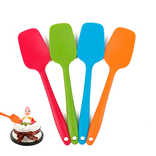 Delidge Silicone Spatula Set - 4-piece, Heat-Resistant Baking Spoon & Spatulas, Non-stick Rubber Dishwasher Safe Seamless Spatulas with Stainless Steel Core - Multicolor(21.7cm/8.56inch)