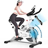 pooboo Indoor Cycling Bike with Magnetic Resistance Exercise Bikes Stationary,Silent Belt Drive with LCD Monitor & Comfortable Seat Cushion for Home Cardio Workout (D518)