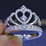 Guoshang Exquisite Princess Crown Fashion Women Jewellery Crown Round Cubic Zirconia Anniversary Promise Engagement Diamond Ring for Lover,6