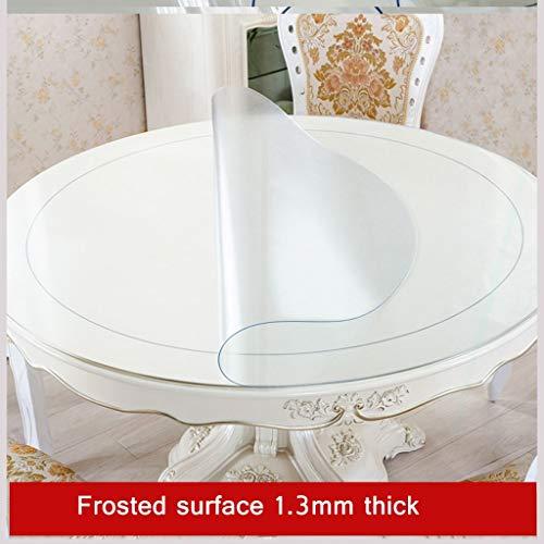 Ronde pvc-tafelkleed, geen curling, waterdicht, startskant, keuken, binnen- of buiten, picknick (transparant) Diameter-130cm B-1,3 mm