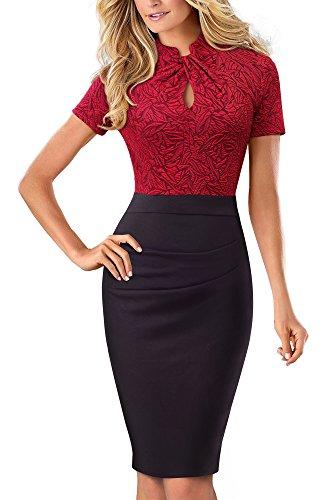 HOMEYEE Women's Short Sleeve Business Church Dress B430 (4, Red + Black)