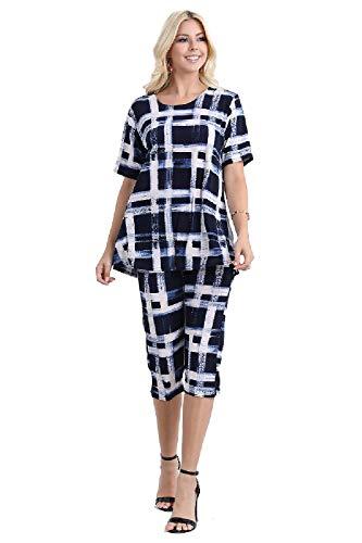 Jostar Women's Stretchy Capri Pant Set Short Sleeve Print Small Navy Abstract