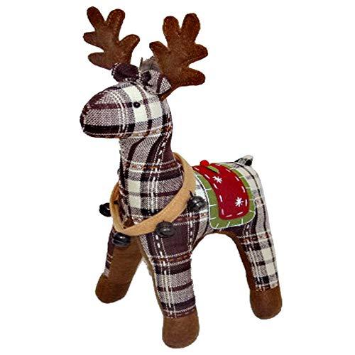 Wenini Christmas Plush Dolls, 37cm/44cm Scotland Plaid Lifelike Stuffed Animal Red Deer Elk Stuffed Toys Plush Toy Doll for Kids Birthday (44cm, Coffee❤️)