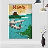 MKAN ハワイヴィンテージシティ旅行ポスター、キャンバスプリント壁アート写真、家の装飾キャンバス絵画50X70Cm