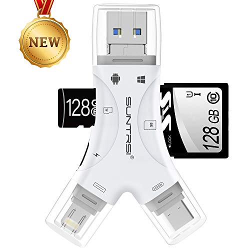 SD Card Reader for iPhone/ipad/Android/Mac/Computer/Camera,4 in1 Micro SD Card Reader Trail Camera Viewer, Portable Memory Card Reader SD Card Adapter Compatible with SD and TF Cards(White)