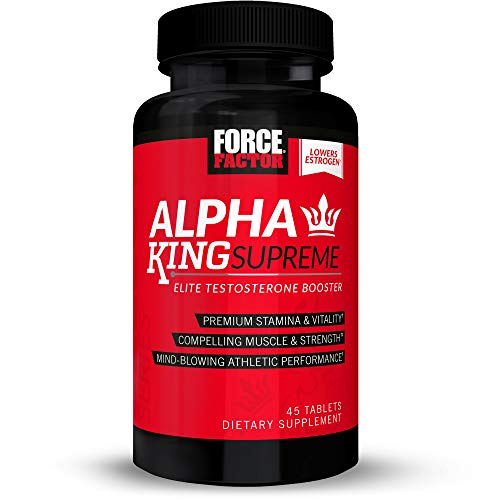 Alpha King Supreme Testosterone Booster for Men with Fenugreek Seed and Ashwagandha to Increase Drive and Vitality, Boost Performance, and Build Muscle and Strength, Force Factor, 45 Tablets