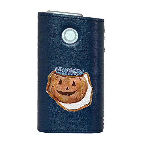 glo グロー グロウ 専用 レザーケース レザーカバー タバコ ケース カバー 合皮 ハードケース カバー 収納 デザイン 革 皮 BLUE ブルー ハロウィン かぼちゃ 014709