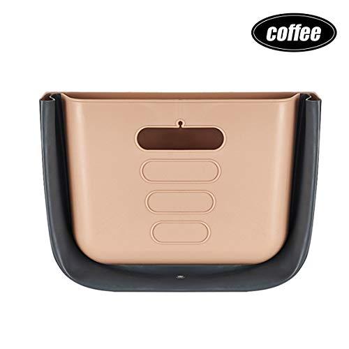 XKMY Accesorios de interior plegables para colgar en el coche, cubo de basura para almacenamiento de residuos de hogar, cocina, puerta de armario (color: café)