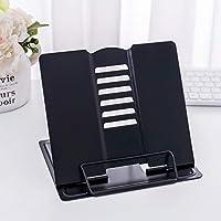 zunbo - 1 portalibros de metal con soporte para lectura, para libro de recetas, cocina, revista, atril de lectura ajustable con 6 posiciones para oficina, cocina o casa, color Negro