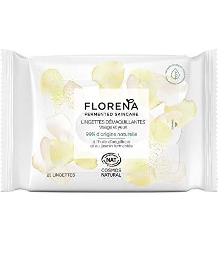 FLORENA Lingettes Démaquillantes pour Visage et Yeux (1 x 25 pcs), démaquillant visage à la formule 99% d'ingrédients d'origine naturelle, nettoyant visage pour tous types de peaux