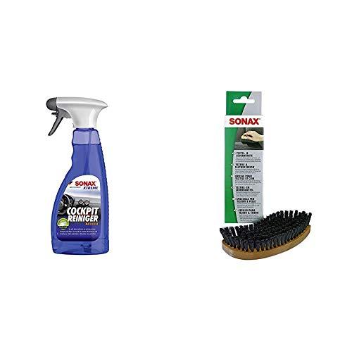SONAX Xtreme CockpitReiniger Matteffect (500 ml) Reinigung und Pflege für alle Kunststoffoberflächen im Autoinnenraum & Textil- & LederBürste (1 Stück) zur Trocken- und Feuchtreinigung von Textilien
