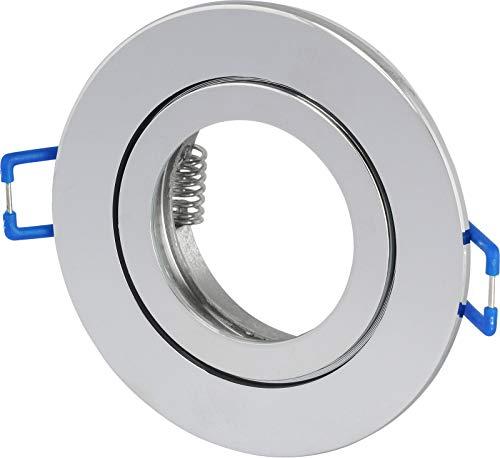Spot IP44 aluminium inbouwspot - chroom-glanzend rond - met kliksluiting en glazen plaat - voor vochtige ruimtes badkamer
