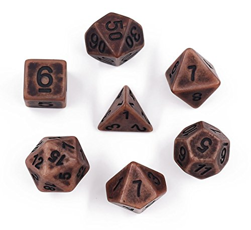 Hengda dice Polyhedral Dice Set Copper Ancient Dice Dnd Dice for Dungeons and Dragons Table Role-Playing Game Dice
