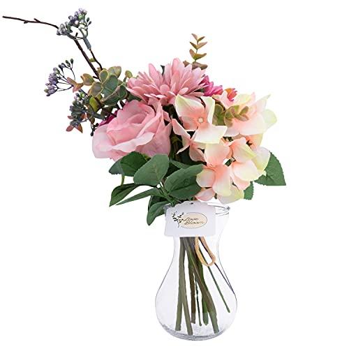 Love Bloom Ramos de Flores Artificiales con Jarrón – Flores de Tela Seda, Rosa, Crisantemo, Hortensia - Jarron con Flores Artificiales Decoración Bodas, Hogar, Centros de Mesa y Decoraciones Fiestas