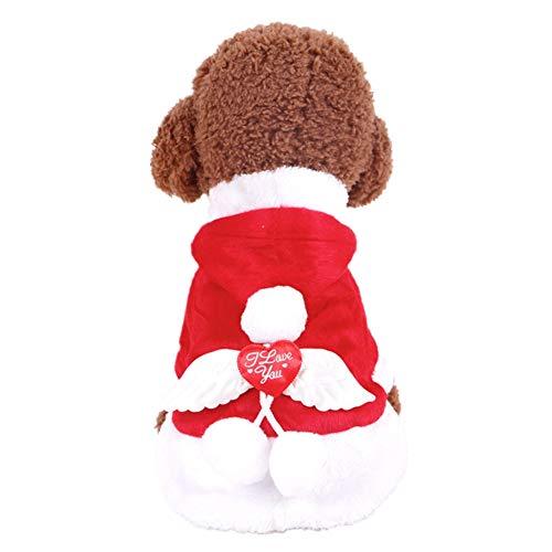 ShuoBeiter huisdier kostuums herfst winter jurk honden kleding vrolijke kerst engel vleugels kleding voor kat kleine hond, S, Rood