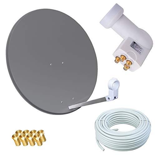 netshop 25 HD Sat Anlage 80cm Spiegel + Opticum Quad LNB für 4 Teilnehmer + 50m Kabel (3 Farben wählbar)