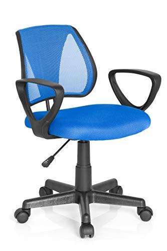 hjh OFFICE 725100 Kinder- und Jugenddrehstuhl KIDDY CD Netzstoff Blau höhenverstellbare Rückenlehne, Stuhl mit Armlehnen