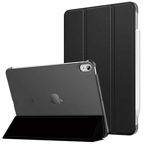 MoKo Hülle Kompatibel mit iPad Air 4. Generation 2020 iPad 10.9 Zoll2020 Tablet, Auto Schlaf/Wach [Unterstützt 2. Gen iPencil Laden] Transluzent Rückhülle Schutzhülle PU Leder Tasche, Schwarz