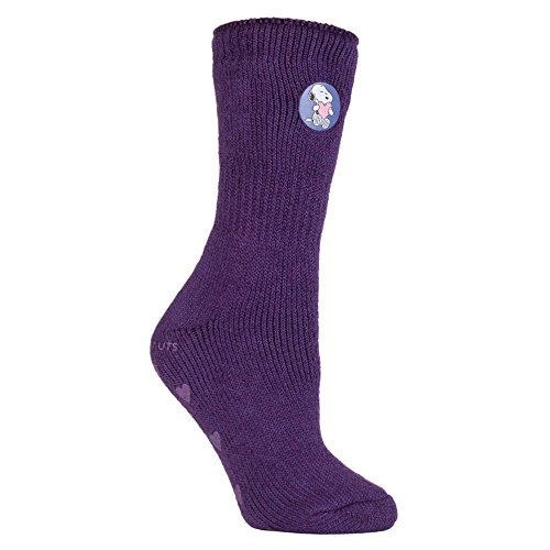 HEAT HOLDERS - Damen winter anti rutsch stoppersocken mit gummisohle abs thermosocken, 7 Farben zur Auswahl, 37-42 eu (Peanuts)