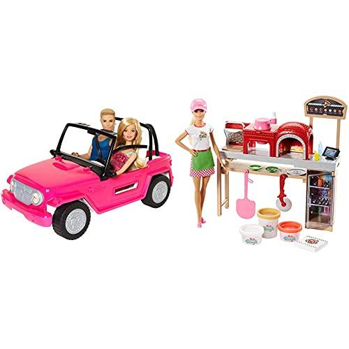 Barbie Muñeco Ken y muñeca con su Coche de Playa, Coche muñeca (CJD12) + Quiero Ser Pizza Chef, Muñeca y Accesorios de Juguete