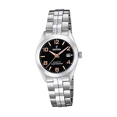 Festina Damen Analog Quarz Uhr mit Edelstahl Armband F20438/6