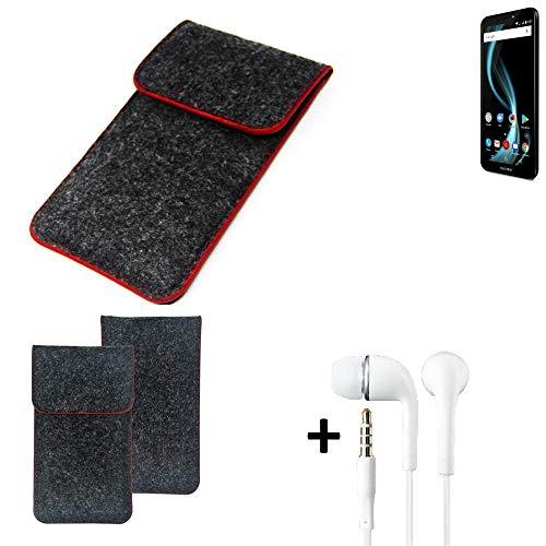 K-S-Trade® Handy Schutz Hülle Für Allview X4 Soul Infinity L Schutzhülle Handyhülle Filztasche Pouch Tasche Case Sleeve Filzhülle Dunkelgrau Roter Rand + Kopfhörer