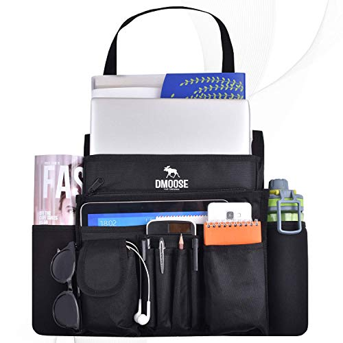 DMoose Car Front Seat Organizer with Laptop and Tablet Storage, Compact Passenger Side Caddy with Neoprene Water Bottle Pockets, File Folder Sleeves, and Space Saving Compartments (Black)