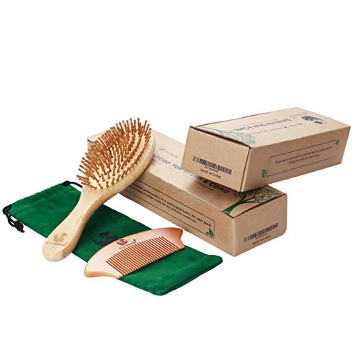 Eco Emerald, Natural Bamboo Hairbrush & Comb, Vegan Friendly, Suitable for Women Men & Kids, Biodegradable Earth Friendly, Anti-frizz, Detangles Hair & Massages scalp, Results in Smooth & Soft Hair