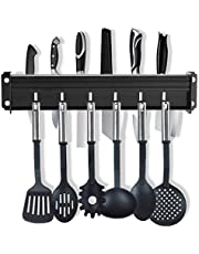 Keukenstang, aluminium, geen boren nodig, messenblok, zonder messen   keukenrek met 7 haken, voor keukengerei, met gepatenteerde zelfklevende plakkertjes