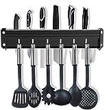 Porte Couteau Mutal, Porte Ustensiles Cuisine avec 7 Crochets, Support de Cuisine en aluminium, 40cm (Noir)