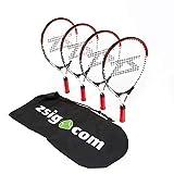 Zsig Family - Juego de Raquetas de Tenis pequeñas (2 Raquetas Rojas y Blancas de 53,3 cm, 2 Raquetas de 23 Pulgadas), Color Naranja y Blanco