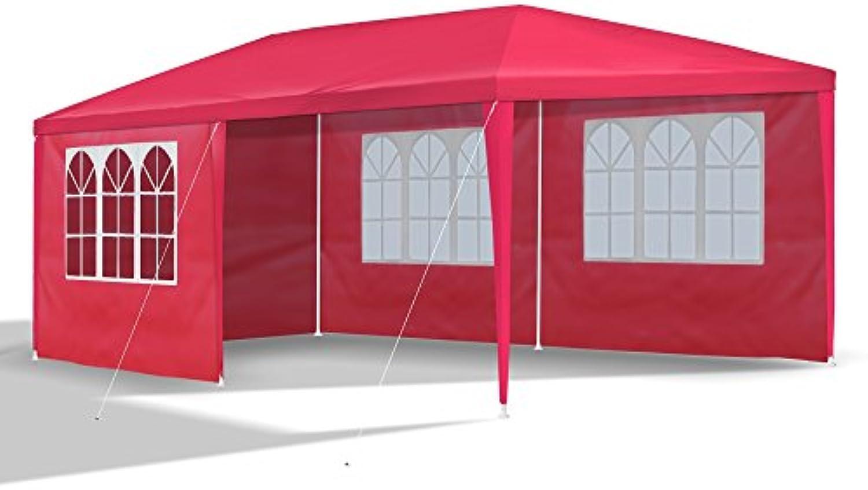 JOM Gartenpavillon 3 x 6 m, mit 6 Seitenwnden 110G PE, rot