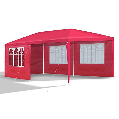 JOM Car Parts & Car Hifi GmbH 127129 Gazebo 3 x 6 m, rojo, mirador, pabellón, carpa, carpa, carpa de jardín con 6 paredes laterales 110G PE