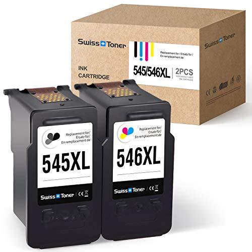 SWISS TONER Kompatibel für Canon PG-545XL CL-546XL 545XL 546XL Wiederaufbereitet Tintenpatronen für Canon PIXMA MG2950 IP2850 MG2450 MG2550,Schwarz/Farbe