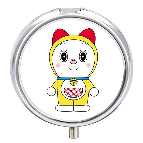 TIANAIS Pastillero redondo estilo Doraemon dispensador de 9 píldoras, dispensador de pastillas, una pequeña pastillera para bolso de mano