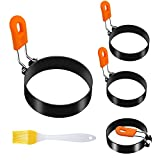 AISUNY Egg Rings for Frying Eggs, Round Egg Cooking Ring with Silicone Handle, Stainless Steel Egg Mold Set of 4 with Oil Brush for Fried Egg Mcmuffins Pancake Sandwiches(2.95in)